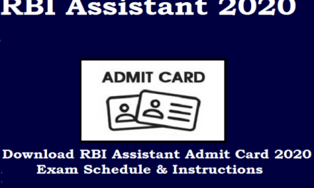 RBI Assistant Admit Card 2020 released, Candidates applied for the test can download the hall ticket