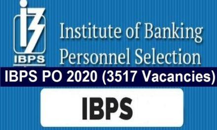 IBPS PO Recruitment 2020-21: Apply for 3517 vacancies