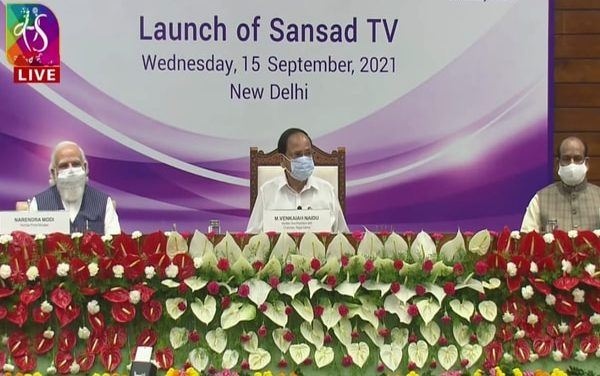 PM Modi launches Sansad TV along with VP Naidu, LS Speaker Om Birla